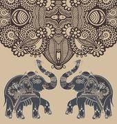 original indian pattern with two elephants for invitation, cover - stock illustration