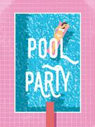Pool party poster template with sexy woman in bikini sunbathing. 80s retro Stock Illustration