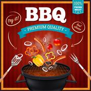 Barbecue Realistic Poster Stock Illustration