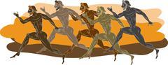 Ancient greek runners - stock illustration