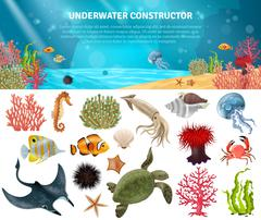 Sea Life Constructor Isolated Icons Set Stock Illustration