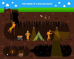 Speleologists Cave Exploration Flat Background Banner Stock Illustration