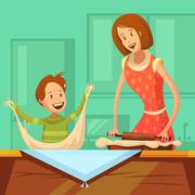 Family Cooking Illustration - stock illustration