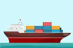 Cargo Ship Containers Shipping Piirros