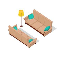 Sofa and Lamp Isometric Design Stock Illustration