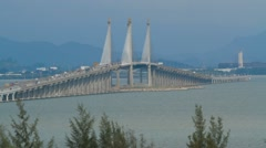 Wide Angle Shot of Penang Bridge in Malaysia Stock Footage
