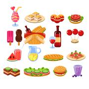 Picnic Food And Drink Set - stock illustration