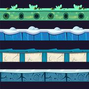 Water And Ice Platformer Level Floor Design Set Stock Illustration