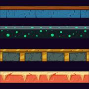 Alien Planet Platformer Level Floor Design Set - stock illustration