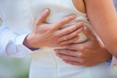 gentle embrace of loving hearts - stock photo