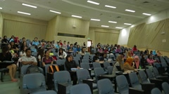 Tilting Shot of Students Sitting Inside A Lecture Hall in USM, Penang, Malaysia Stock Footage