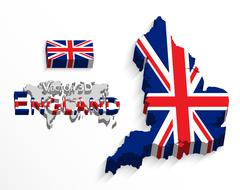 England 3D ( flag and map ) ( United Kingdom of Great Britain ) ( combine fla Stock Illustration