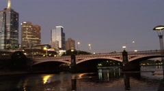 MELBOURNE - NOVEMBER 2015: City night skyline over Yarra river. Melbourne Stock Footage
