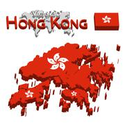 Hong Kong 3D ( Hong Kong Special Administrative Region of the People's Republ Stock Illustration