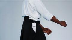 Martial arts Master in black hakama - stock footage
