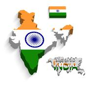 Republic of India 3D ( flag and map ) ( transportation and tourism concept ) - stock illustration