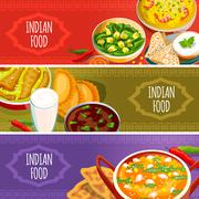 Indian Food Horizontal Banners Set - stock illustration