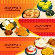 Asian Sweets Horizontal Banners Set - stock illustration