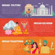 India Horizontal Banners Set Stock Illustration