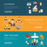 Horizontal Election Banner - stock illustration