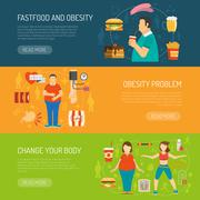 Banners Obesity Concept Stock Illustration
