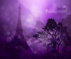 silhouette of Eiffel tower in rain - stock illustration