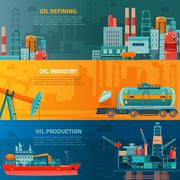 Oil Industry Horizontal Banners Set - stock illustration