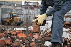 Blockages of broken bricks Stock Photos