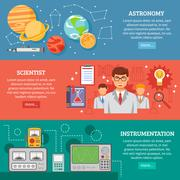 Science 3 Flat Banner Set - stock illustration
