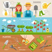 Farmers Gardening 3 Flat Banners Set - stock illustration