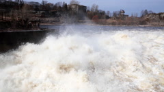 Water discharge at Narvskaya Hydroelectric Power Plant Stock Footage