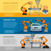 Automation Banners Set Stock Illustration