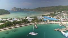 Koh Phi Phi, Thailand Island Scene Drone Clip 4k Stock Footage