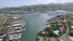 View of Rodney Bay Marina and village Stock Footage