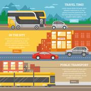 Transport For City And Travel Banners Stock Illustration