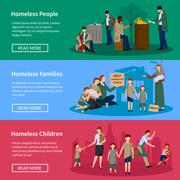 Homeless People Banner Set Stock Illustration