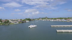 Boat at Rodney bay , St Lucia Stock Footage
