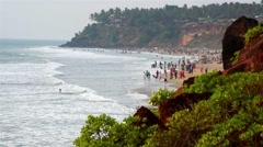Varkala Beach (India) in peak season Stock Footage
