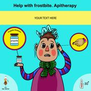 Information poster about first aid for frostbite using apitherapy - stock illustration