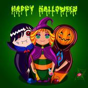 Happy Halloween (dolls) Stock Illustration