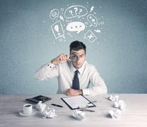 Business person in doubt and confused - stock photo