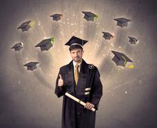 College graduate with many flying hats Stock Photos