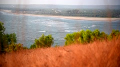 Morjim Beach (Goa), view from the dried grass of Chapora Hill Stock Footage