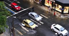 Rainy Day. Pedestrians, Copacabana, Rio de Janeiro, Brazil. Crossing, traffic. Stock Footage