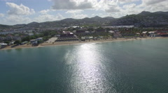 High angle view of coast - St Lucia - stock footage