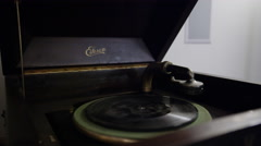 Antique Edison Phonograph Cabinet Record player - stock footage