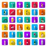 Stock Illustration of alcohol bottles glasses and barman tools icon set.