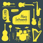 Music instruments silhouettes collection. Piirros