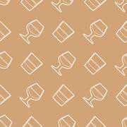 outline whiskey cognac glasses seamless pattern. - stock illustration