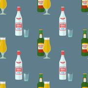flat beer vodka bottles glasses seamless pattern. - stock illustration